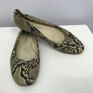 BURBERRY Snakeskin Flats Shoes SZ 39 1/2